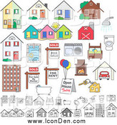 Clip Art of Realty Buildings and Items by Inkgraphics