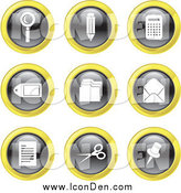 Clip Art of Round Black, White and Yellow Office Icons by Prawny