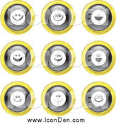 Clip Art of Round Black, White and Yellow Smiley Face Icons by Prawny