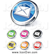 Clip Art of Round Colored and Chrome Open Envelope Website Buttons by Beboy