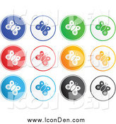 Clip Art of Round Colorful Butterfly Icons by Prawny