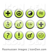 Clip Art of Round Green Cross, Peace Sign, Yin Yang Icons by Rasmussen Images