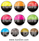 Clip Art of Round Half Black, Half Colored Icons by Michaeltravers