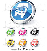 Clip Art of Round Shiny Colored and Chrome Trucking Website Buttons by Beboy