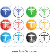 Clip Art of Rounded Colorful Caduceus Icons by Prawny