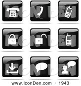 Clip Art of Shiny Black and White Square Communications Website Icons by Jiri Moucka