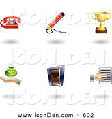 Clip Art of Shiny Business Icons by AtStockIllustration