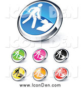 Clip Art of Shiny Colored and Chrome Construction Website Buttons by Beboy