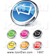 Clip Art of Shiny Colored and Chrome Left Arrow Website Icons by Beboy
