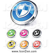 Clip Art of Shiny Colored and Chrome Shield Website Buttons by Beboy
