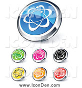 Clip Art of Shiny Round Colored and Chrome Atom Website Buttons by Beboy