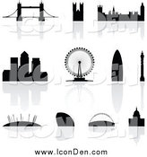 Clip Art of Silhouetted London Landmarks with Reflections by Cidepix