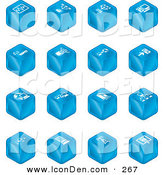 Clip Art of Sixteen Blue Cube Icons of Charts, Connections, Computers, Wireless, Cables, and Communications by AtStockIllustration