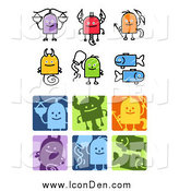 Clip Art of Sketched and Square Libra, Scorpio, Sagittarius, Capricorn, Aquarius and Pisces Zodiac Icons by NL Shop