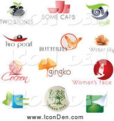 Clip Art of Spa, Pottery, Snail, Pearl, Butterfly, Lotus, Cocoon, Ginkgo, Beauty and Eco Logo Icons by Eugene