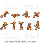 Clip Art of Stretching Orange Men by Leo Blanchette