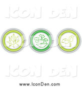 Clip Art of Three Green Plant Icon Buttons by Inkgraphics