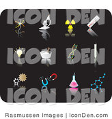 Clip Art of Twelve Science Picture Icons on a Black Background by Rasmussen Images
