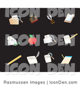 Clip Art of Twelve Stationery Picture Icons on a Solid Black Background by Rasmussen Images