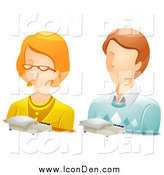 Clip Art of White Male and Female Stenographer Avatar Icons by BNP Design Studio