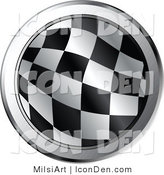 Vector Clip Art of a Round Checkered Racing Flag Icon with Chrome Trimming by MilsiArt