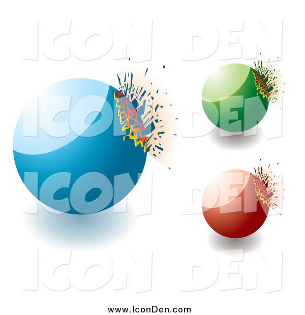 Clip Art of 3d Blue Green and Red Exploding Stones