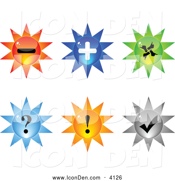 Clip Art of 3d Burst Website Icons