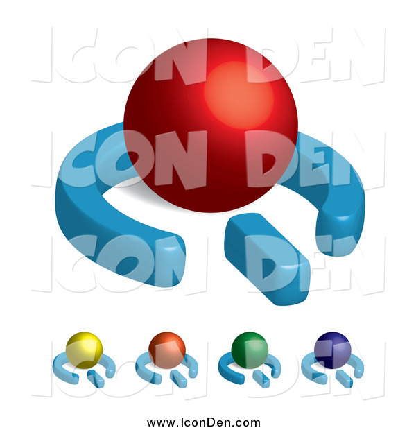Clip Art of 3d Colorful Power Symbols with Spheres