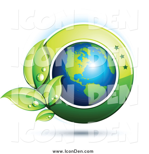 Clip Art of a 3d American Globe with Dewy Leaves and a Green Circle
