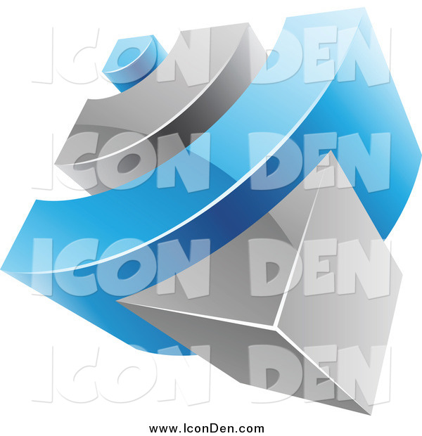 Clip Art of a 3d Blue and Gray RSS Icon