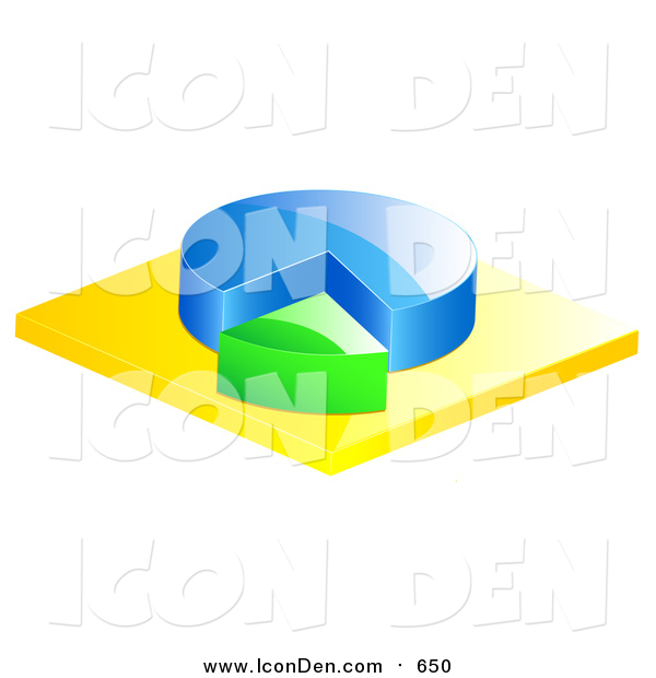 Clip Art of a 3d Blue and Green Pie Chart