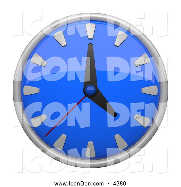 Clip Art of a 3d Blue Circular Wall Clock Icon