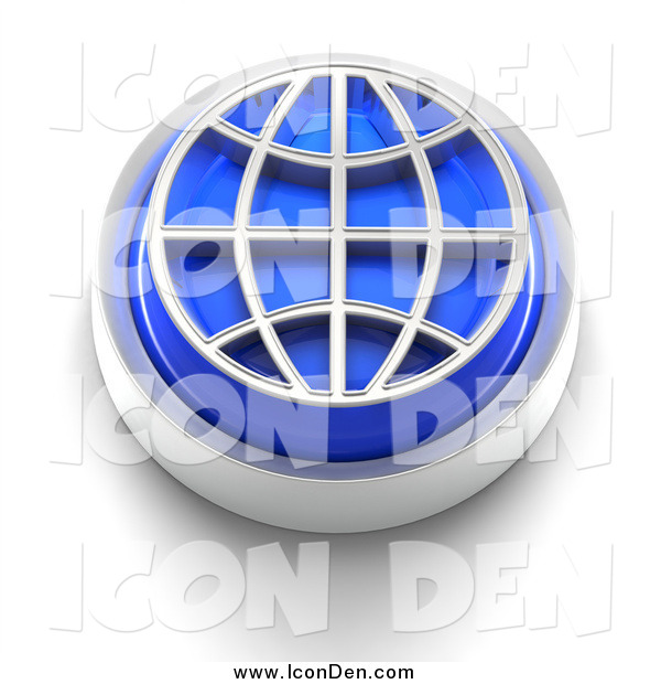 Clip Art of a 3d Blue Wire Globe Icon