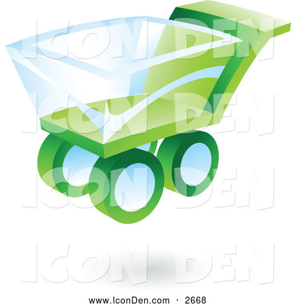 Clip Art of a 3d Green and Blue Shopping Cart Icon