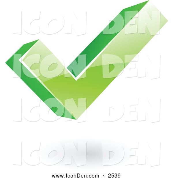 Clip Art of a 3d Green Ok Check Mark