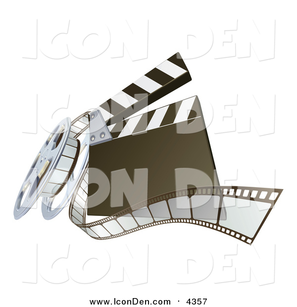 Clip Art of a 3d Movie Clapperboard and Film Reel