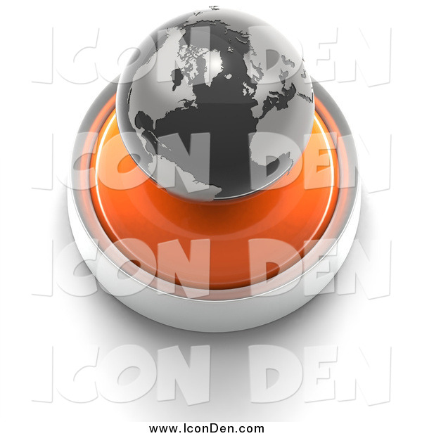 Clip Art of a 3d Orange Button with a Globe