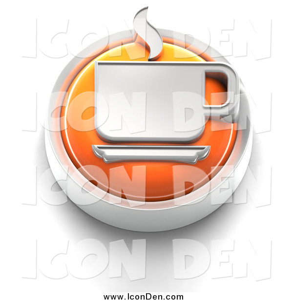 Clip Art of a 3d Orange Coffee Button