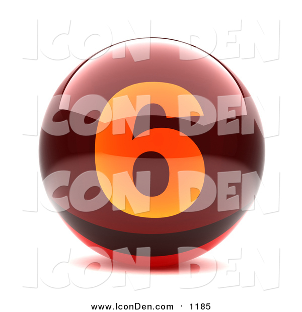 Clip Art of a 3d Red and Orange Number Six Button