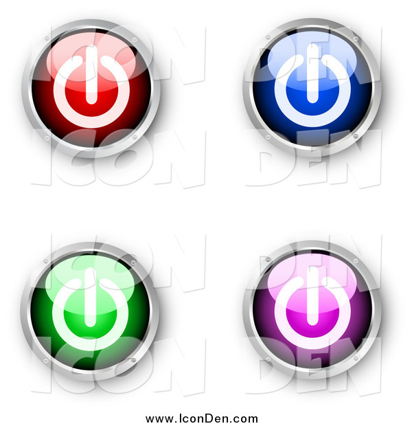 Clip Art of a 3d Red, Blue, Green and Purple Shiny Power Icons