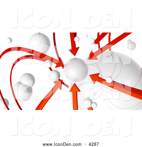 Clip Art of a 3d Rendered Network of Red Arrows and White Orbs, All Arrows Pointing to One Planet, on White