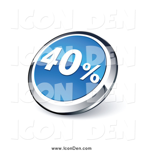 Clip Art of a 3d Round Blue and Chrome Forty Percent Web Site Button