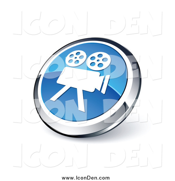 Clip Art of a 3d Round Blue and Chrome Movie Camera Icon