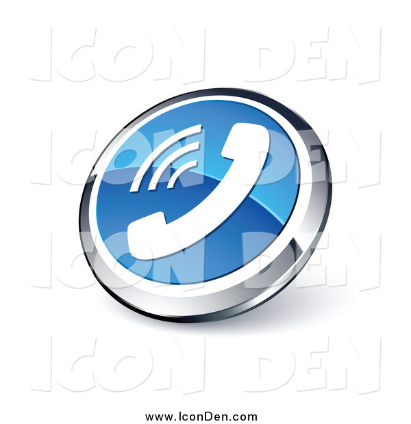Clip Art of a 3d Round Blue and Chrome Telephone Web Site Button