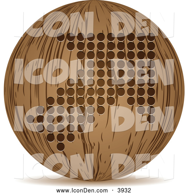 Clip Art of a 3d Wooden Arrow Globe Icon
