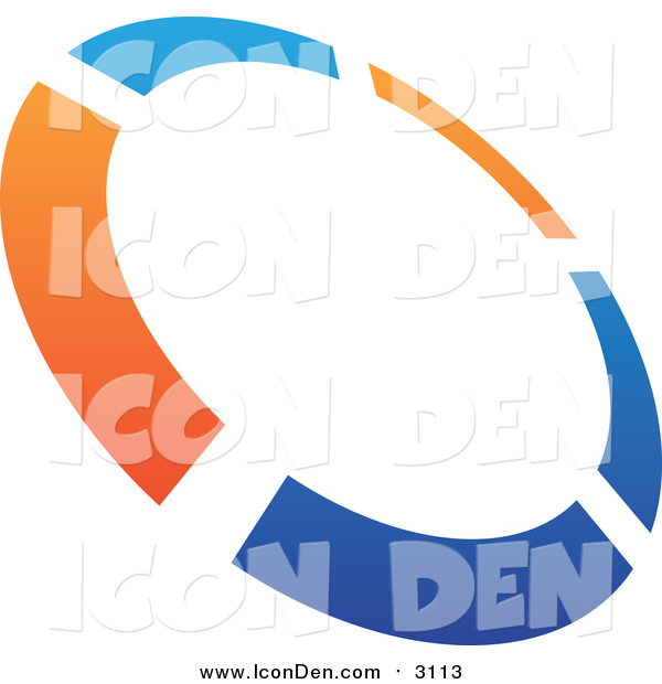 Clip Art of a Abstract Blue and Orange Tilted Circle Icon