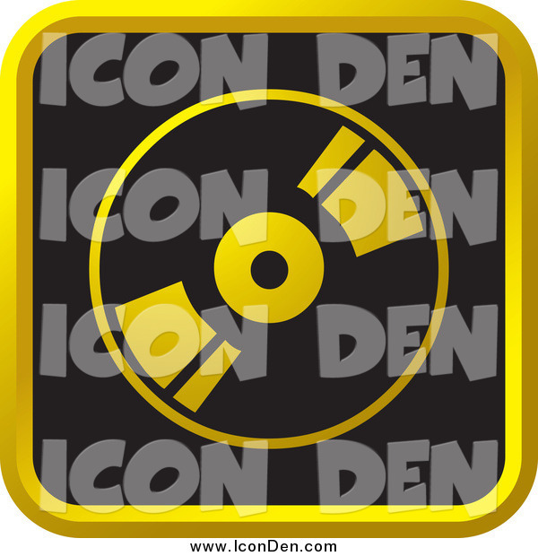 Clip Art of a Black and Gold CD Website Icon