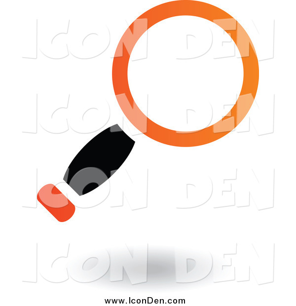 Clip Art of a Black and Orange Search Magnifying Glass Icon