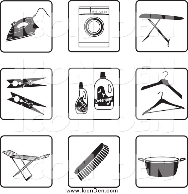 Clip Art of a Black and White Laundry Icons
