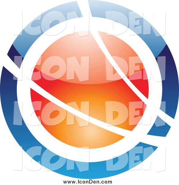 Clip Art of a Blue and Orange Orb with White Swooshes Icon